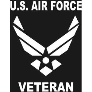 com U.S. AIR FORCE VETERAN Wings logo white window or bumper sticker