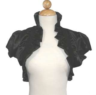 Black Satin Bolero Jacket Short Sleeve Wedding/Bridal *Medium*new