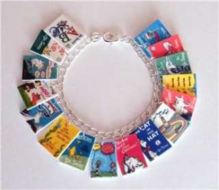Dr Seuss Cat in the Hat Book Cover Charm Bracelet Green eggs and Ham