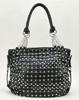 New Hananel Rhinestone Studded Cross Weave Hobo Bag, black
