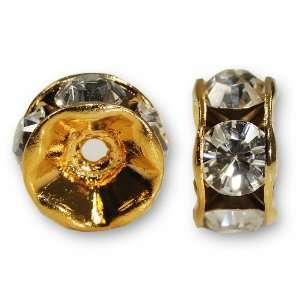 6 Swarovski Crystal Rondelle Gold Plated 6mm   Crystal