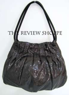Brighton Bree Breelan Python Snake Leather Hobo Shoulder Bag, Black