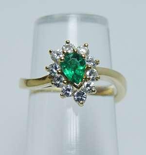 High Quality Emerald VVS FG Diamond 18K Gold Ring Estate Jewel