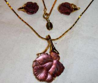LANE Frosted Purple Glass Flower Necklace & Earring Demi Set