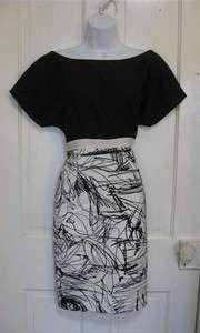 REBECCA & DREW BROOKE BOAT NECK Black WHITE PRINT Dress Sz 10 NEW