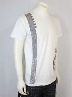 Christian Audigier Rhinestone Stripe LUX T Shirt Tee W