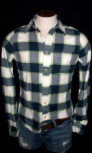 Mens Abercrombie A&F Navy Blue Green Plaid Shirt XL NWT
