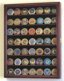 Military Challenge Coin Display Case Cabinet Wall Rack