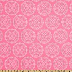 Folk Heart Medallion Pink Fabric By The Yard: Arts, Crafts & Sewing