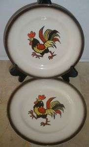Poppytrail Metlox Dinnerware California 2 Salad Plates Red Rooster