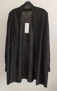 EILEEN FISHER Thin Wool Cardigan 2X Black CHAR Slouchy Pocket $198 NWT