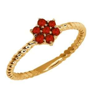 0.25 Ct Round Red Garnet 14k Yellow Gold Ring Jewelry