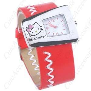 Wrist Band Red Color Watch + Promo Hello Kitty Charm