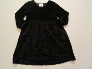 Hanna Andersson Girl Black Velvet Floral Twirl Occasion Party Dress