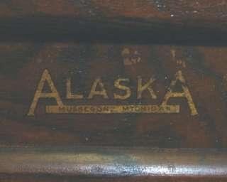 Antique Solid Oak Alaska Ice Box Storage Marked
