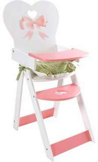 New Pink White Doll Cradle & High Chair Set Pretend Play Girls Toy
