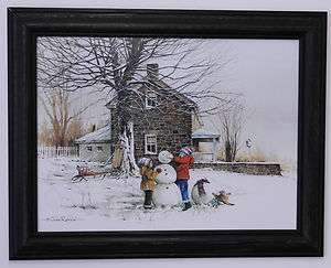 Kids making snowman stone house snow picture framed