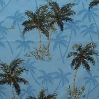 Hawaiian Print Fabric 100% Cotton 1/2 yard 44 wide COCONUT TREES blue