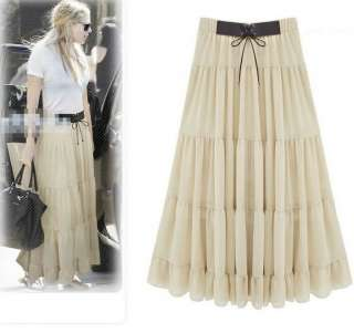Womens Skirts Casual Long Chiffon SKirt Party Faux Leather Cool