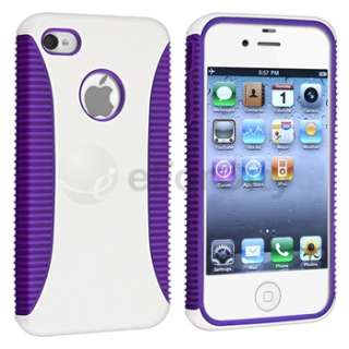 Hybrid Purple TPU/White Hard Case Cover+S Stylus Pen For iPhone 4 4th