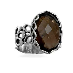 Smoky Quartz Ring Faceted Stone Open and Solid Band Sterling Silver