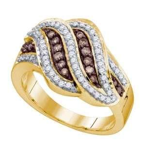 YELLOW GOLD LADIES CHOCOLATE/WHITE DIAMOND FASHION BAND RING 0.51CT 4R