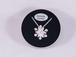 Genuine Crystal Snow Flake Necklace in Gift Box Great Christmas Gift