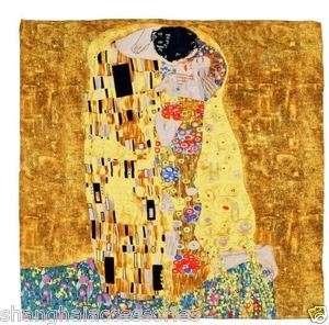ART 100% Silk Oil Painting Scarf Wrap Gustav Klimts The Kiss in