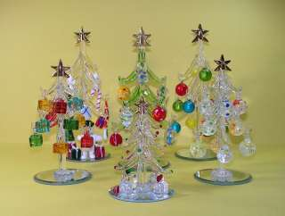 Miniature Clear Glass Christmas Tree w/ Presents 007
