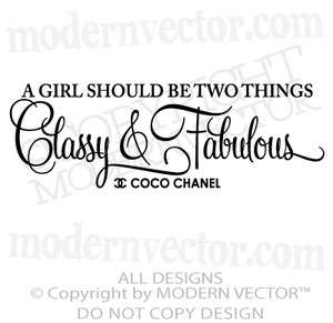 Coco Chanel Vinyl Wall Quote Decal Lettering FABULOUS