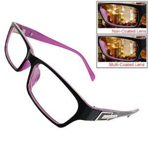 Como Ladies Black Fuchsia Plastic Full Rim Plain Glasses