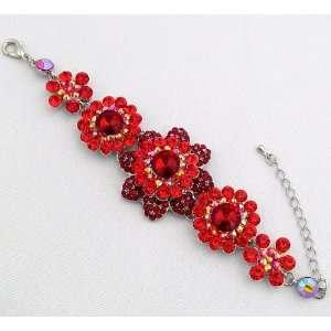 Prom Crystal Rhinestone Daisy Flower Bracelet 06