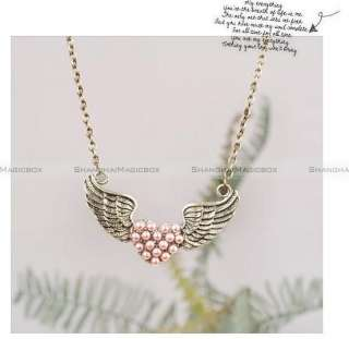 Vintage Cute Heart Wing Collarbone Necklace Chain New FANECK048