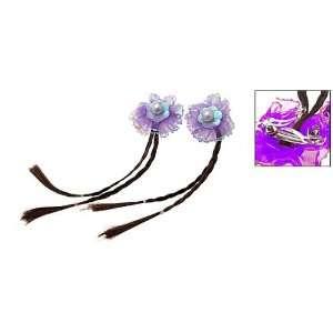 French Clip Purple Flower Hair Barrette Plait Wig Brown