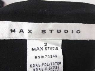 MAX STUDIO Black Pleated A Line Skirt Sz 2