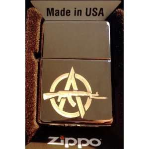 Zippo Custom Lighter   Anarchy GUN Revolt Logo Hi Polish