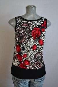 WHITE HOUSE BLACK MARKET paisley w/ rose floral print knit tank top