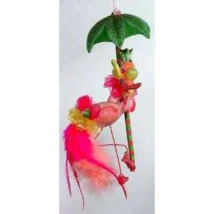Pink Flamingo & Palm Tree Tiki Bar Christmas Ornament: Home & Kitchen