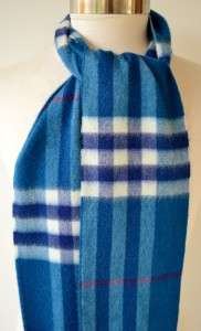 NWT BURBERRY 100% CASHMERE BLUE NOVA CHECK LONG SCARF~SCOTLAND