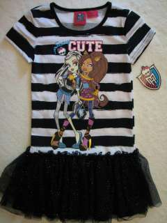NWT Monster High Skull Girls Sz L 10/12 SCARY CUTE Tutu Dress Frankie