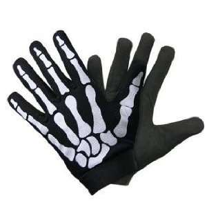 Large Unisex Fit Skeleton Hand Bones Fingers Mechanics Gloves Biker