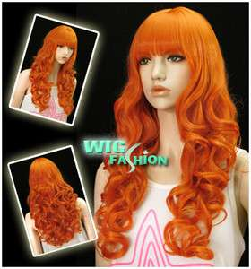 Long Curly Pumpkin Orange Hair Wig CU58
