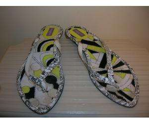 black and white leather print flip flops. Size 41/11 US. Terry foot