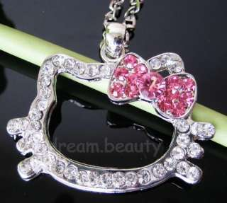 Cute Hello Kitty Crystal pink bow chain diamante Pendant Necklace