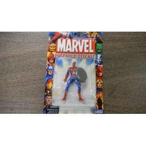 Marvel Spider Man Poseable Die Cast Spider  Man wi Shield by Toy Biz