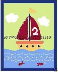 Pottery barn kids frame& boys little boat sailboat art