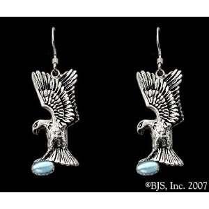 Gem, 14k White Gold, Light Blue set gemstone, Eagle Animal Jewelry, 14