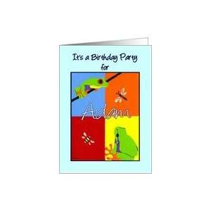 Birthday party invitation for Adam   Colorful frogs bee