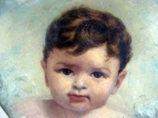 1800S ADORABLE ANTIQUE BABY OIL PAINTING OLD REALISTIC