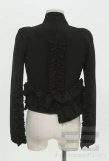 Givenchy Black Wool Ruffle Detail Long Sleeve Jacket Size 36